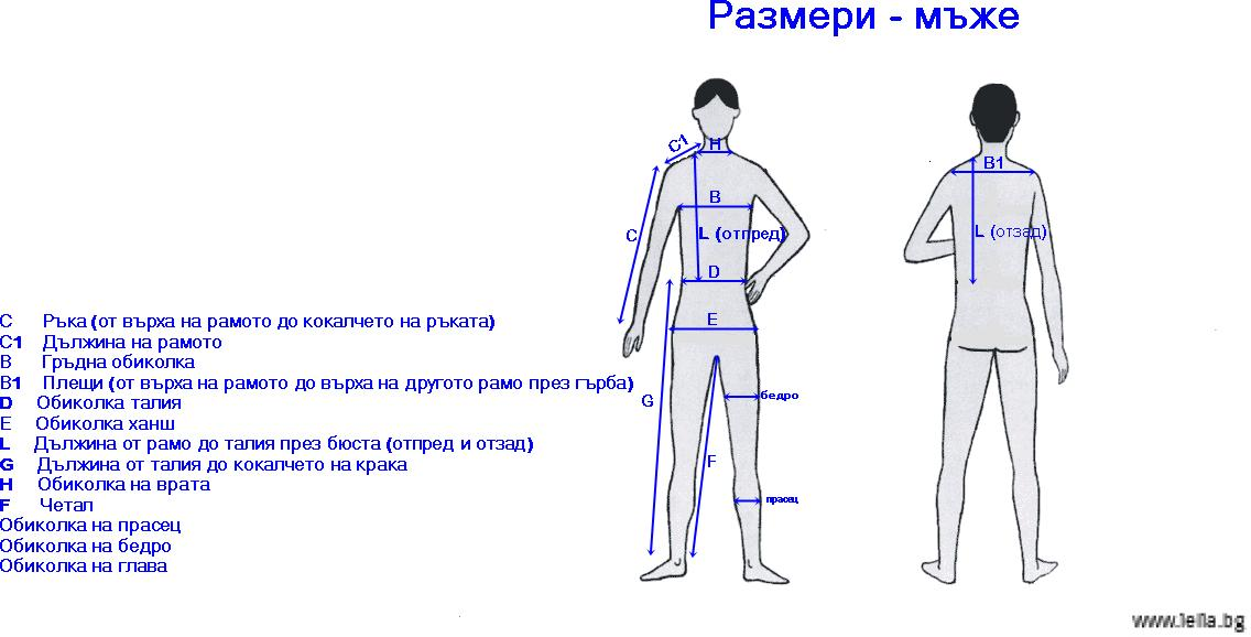 размери за мъже